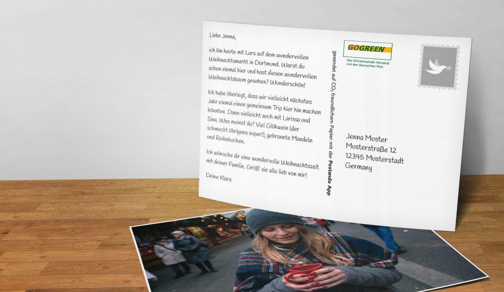 weihnachtskarten selbst gestalten postando postkarten app
