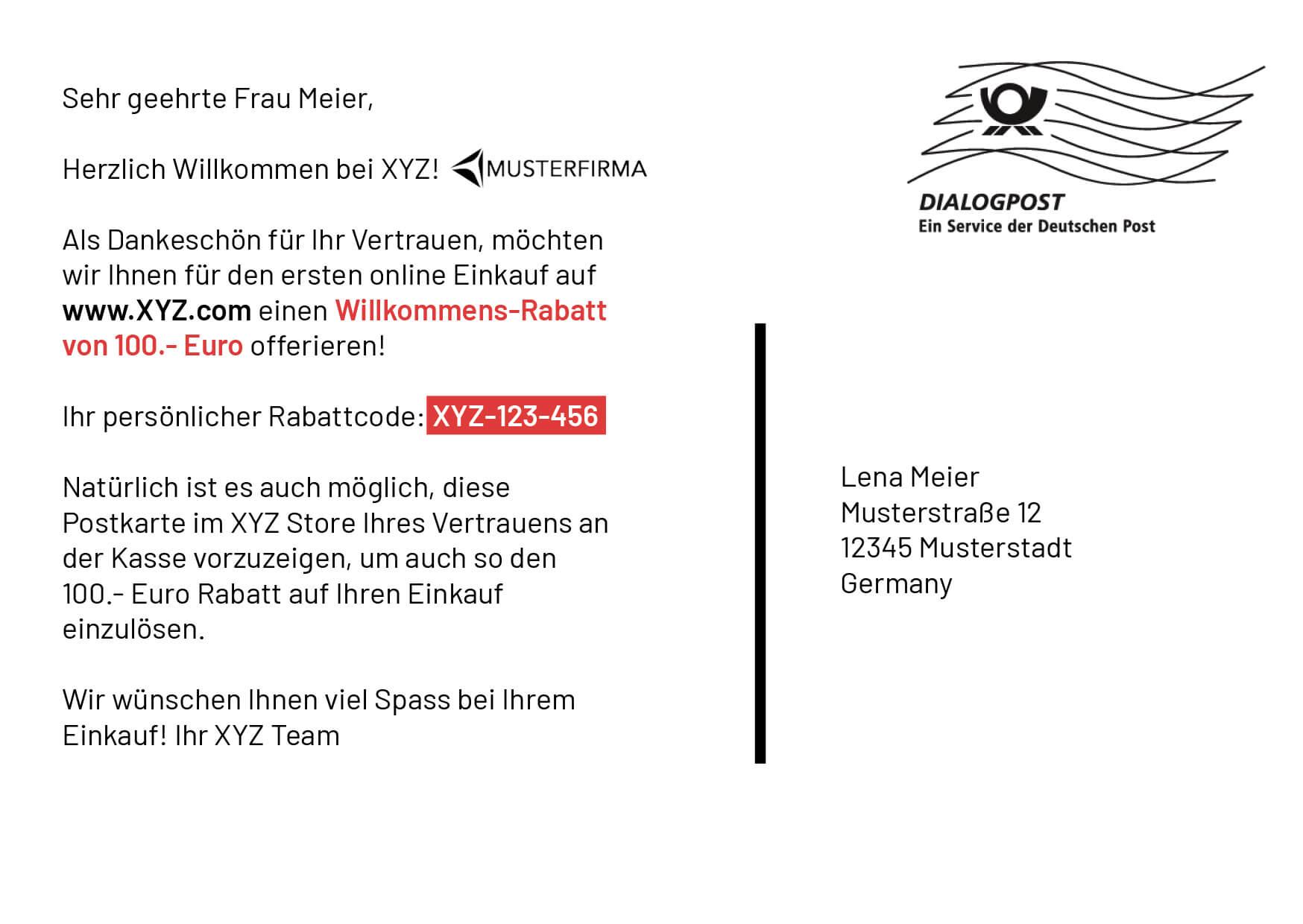 Beispielkarte Partner Lufthansa hinten