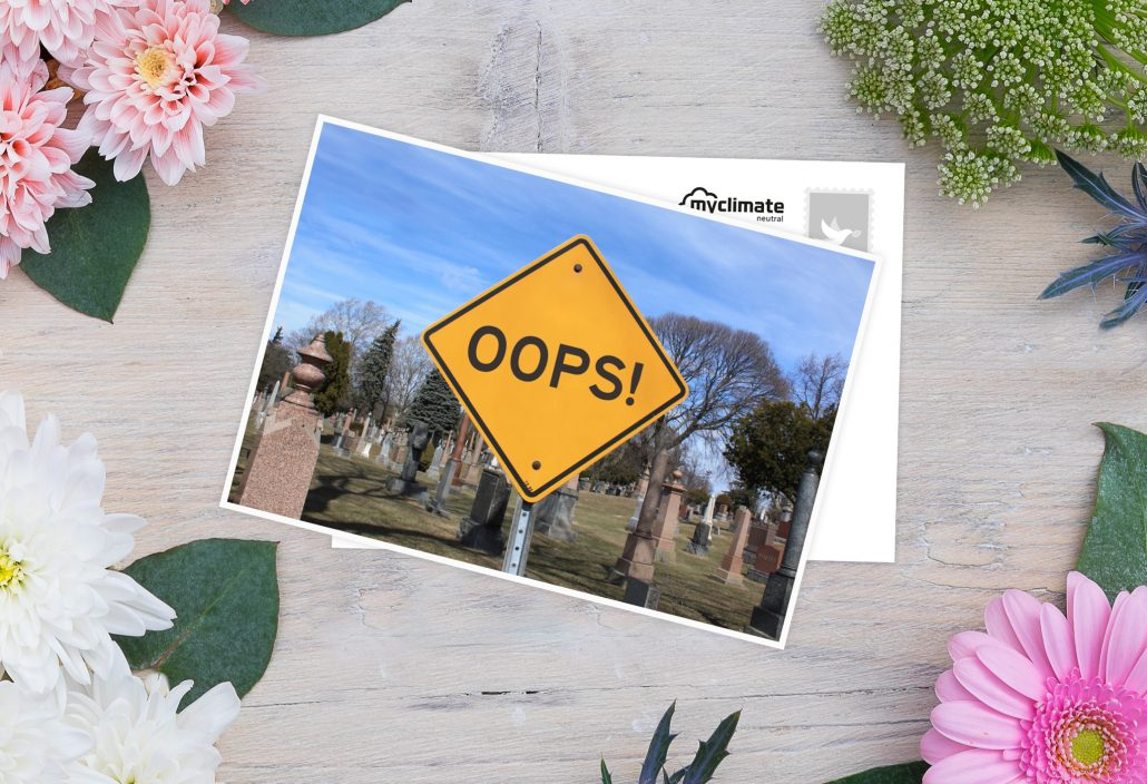 Entschuldigungskarten mit einem Schild auf der Vorderseite