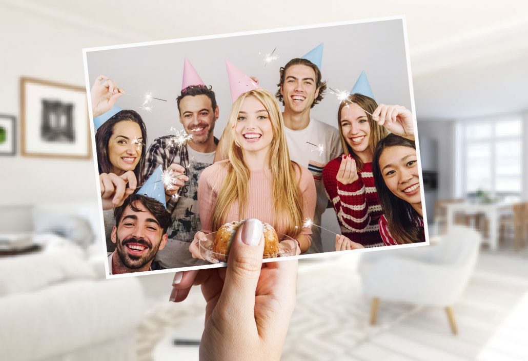 Friends with party hats on birthday card
