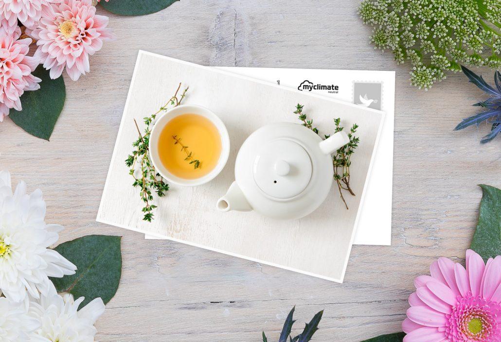 Genesungskarte mit Teekanne und Tasse