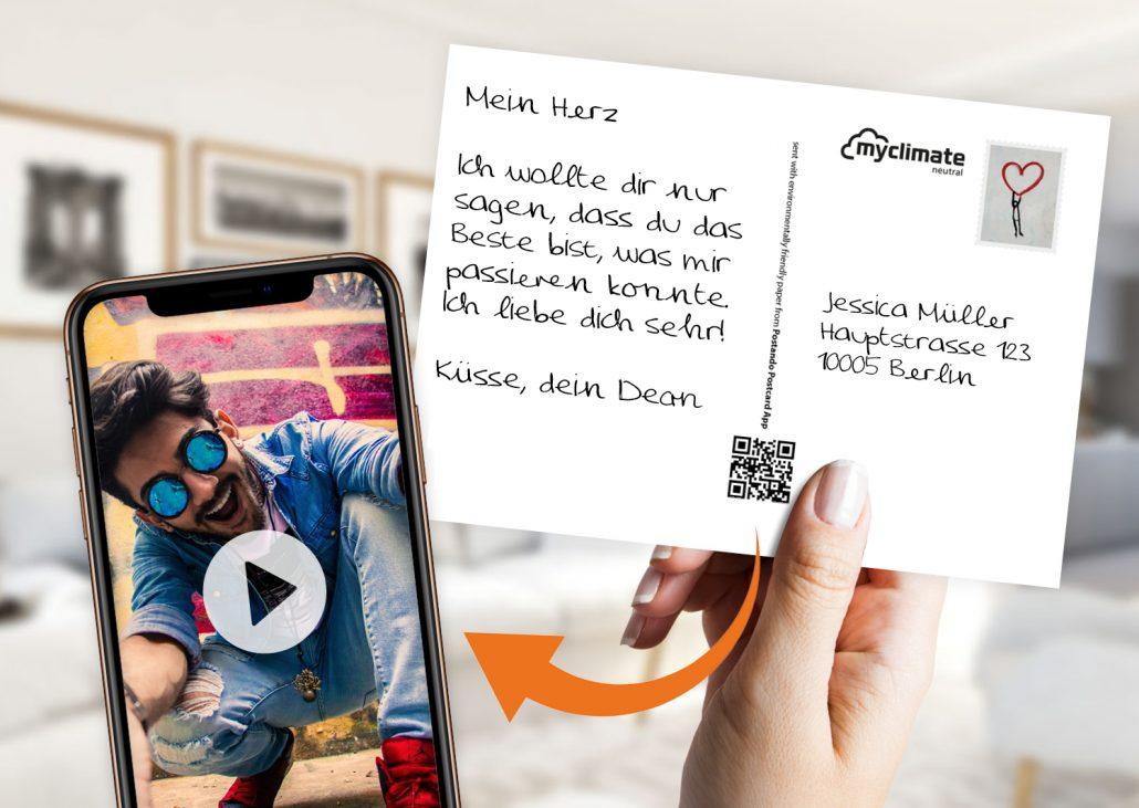 Liebespostkarte mit persönlichen Video