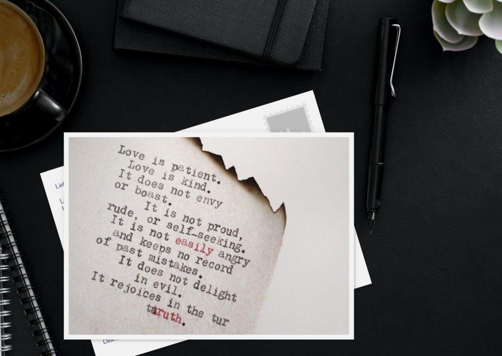 Liebespostkarte mit Zitat