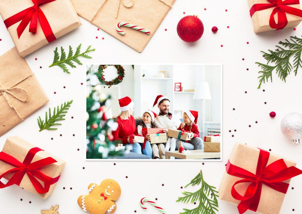 selbst designte Weihnachtskarte für die ganze Familie